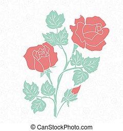 декоративный, elements, рука, украшение, вектор, цветочный, вничью, страница, element., design.