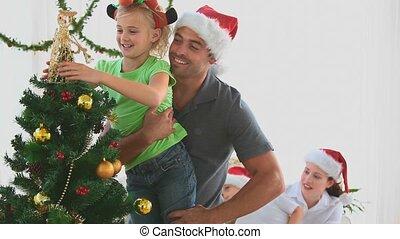 декорирование, дерево, рождество, семья