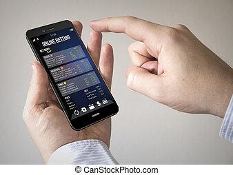 делать ставку, онлайн, сенсорный экран, смартфон