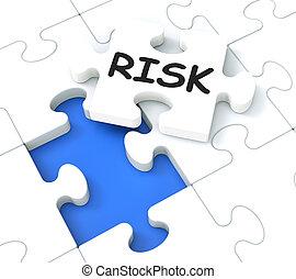 денежный, головоломка, кризис, показ, риск