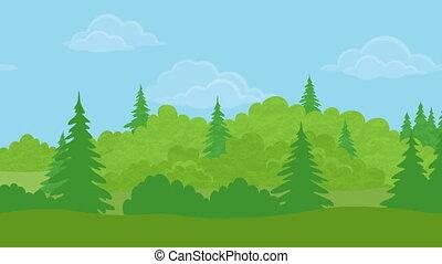 день, петля, бесшовный, пейзаж, лес