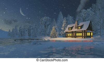 деревенский, дом, дерево, рождество