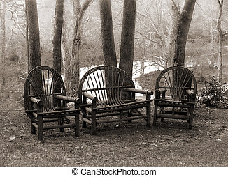 деревенский, chairs, газон