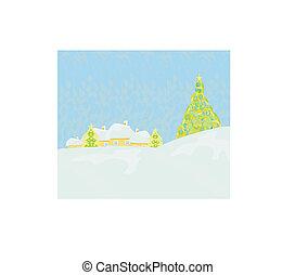 деревня, рождество, карта, ночь