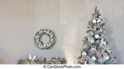 дерево, камин, год, рождество, серый, новый, венок, интерьер, background.