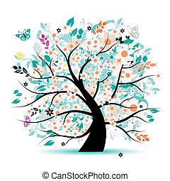 дерево, красивая, цветочный