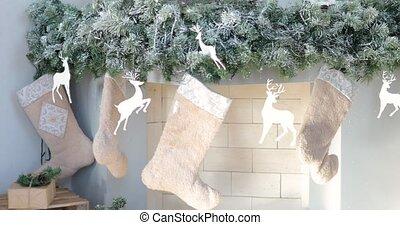 дерево, украшен, камин, colours., год, рождество, интерьер, новый, серебряный