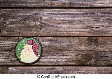 деревянный, деревенский, and, марочный, рождество, задний план, with, , подвешивание, пенсильвания