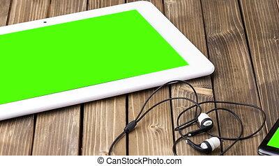 деревянный, долли, умная, наушники, портативный компьютер, background., телефон, видео, камера, фото