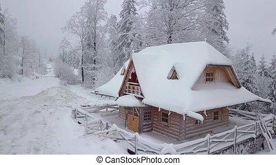 деревянный, дом, лесистая местность, снежно
