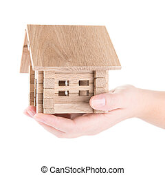 деревянный, дом, маленький, рука
