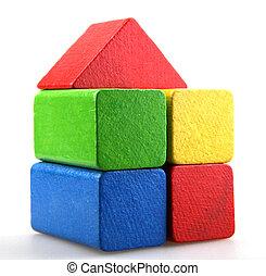 деревянный, здание, blocks