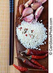 деревянный, кружка, азиатский, питание, ingredients