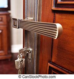 деревянный, металл, часть, дверь, ручка