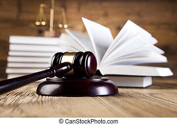 деревянный, молоток, закон, books