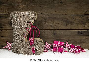 деревянный, рождество, задний план, with, , ручной работы, ботинок, of, wood.