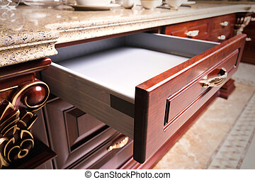 деревянный, шкаф, with, открытый, пустой, выдвижной ящик