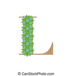 деревянный, leaves, l, письмо