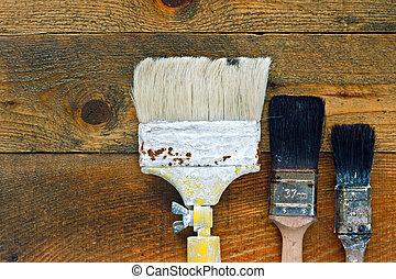 деревянный, paintbrushes, используемый, старый, таблица