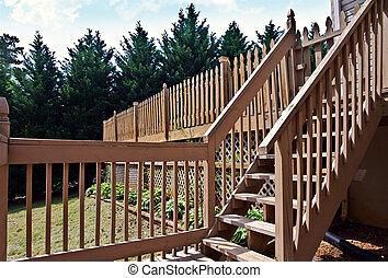 деревянный, steps, палуба