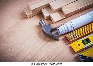 деревянный, studs, blueprints, instruments, of, измерение, коготь, молоток, с