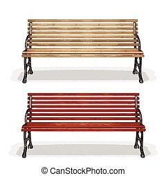 деревянный, (vector), скамейка