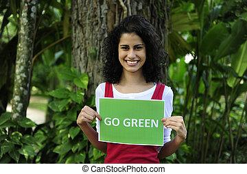 держа, идти, conservation:, знак, женщина, зеленый, окружающая среда, лес
