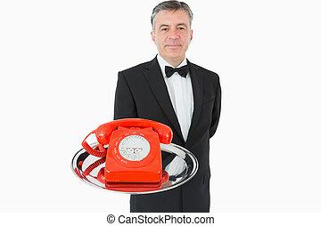 держа, официант, красный, телефон