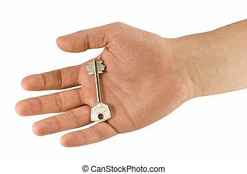 держа, рука, ключ