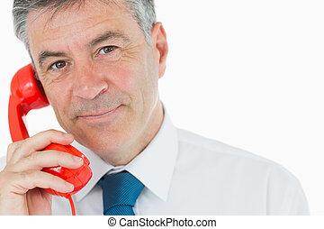 держа, телефон, красный, бизнесмен