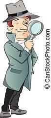 детектив, ищу, вектор, через, glass., мужской,...
