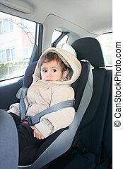 детка, автомобиль, безопасность, сиденье