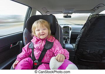 детка, в, автомобиль, сиденье