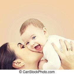 детка, playing, смеющийся, мама