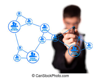 диаграмма, показ, концепция, сетей, социальное