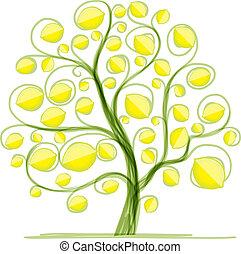 дизайн, лимон, дерево, ваш
