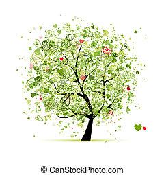 дизайн, hearts, дерево, ваш, валентин