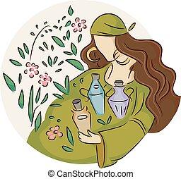 дикий, цыганский, девушка, plants, potions