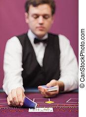 дилер, в, , казино, распределительный, cards