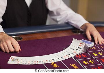 дилер, дело, вне, cards, в, рулетка, таблица