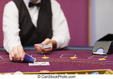 дилер, дело, cards, в, , казино