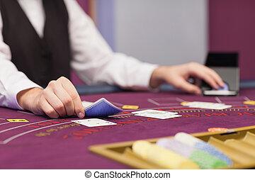дилер, распределительный, cards, в, таблица