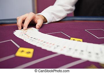 дилер, распространение, , палуба, в, покер
