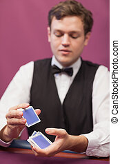 дилер, shuffling, cards, в, , казино