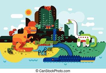 динозавр, квартира, задний план