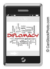 дипломатия, слово, облако, концепция, на, сенсорный экран, телефон