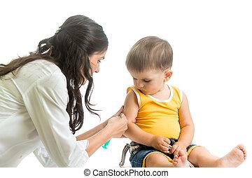 дитя, врач, isolated, vaccinating, мальчик