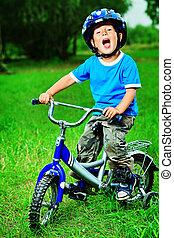 дитя, на, велосипед