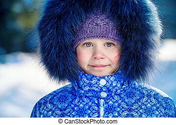 дитя, на, зима