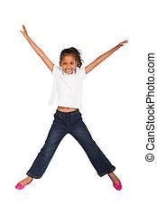 дитя, прыжки, высокая